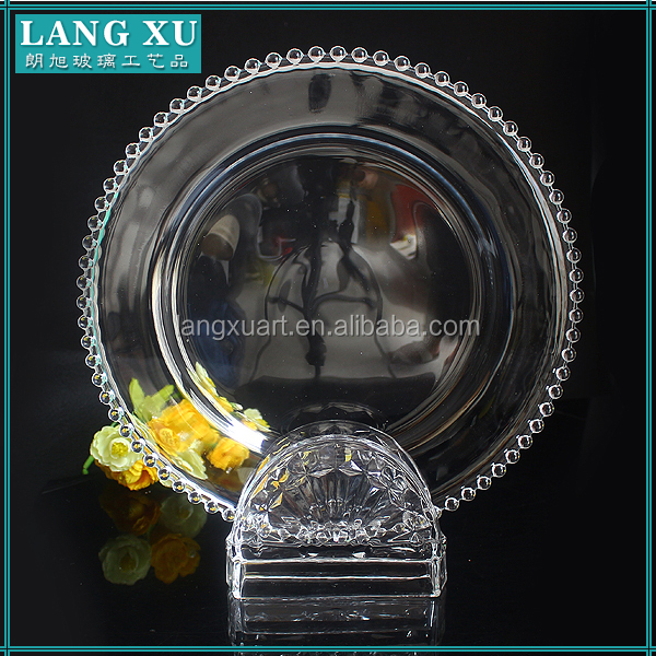 wedding decoration silver beaded cheap glass charger plates