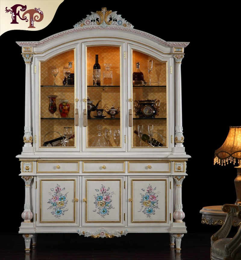 antique white display cabinet/antique reproduction display cabinet/antique hand carved wood wine cabinet