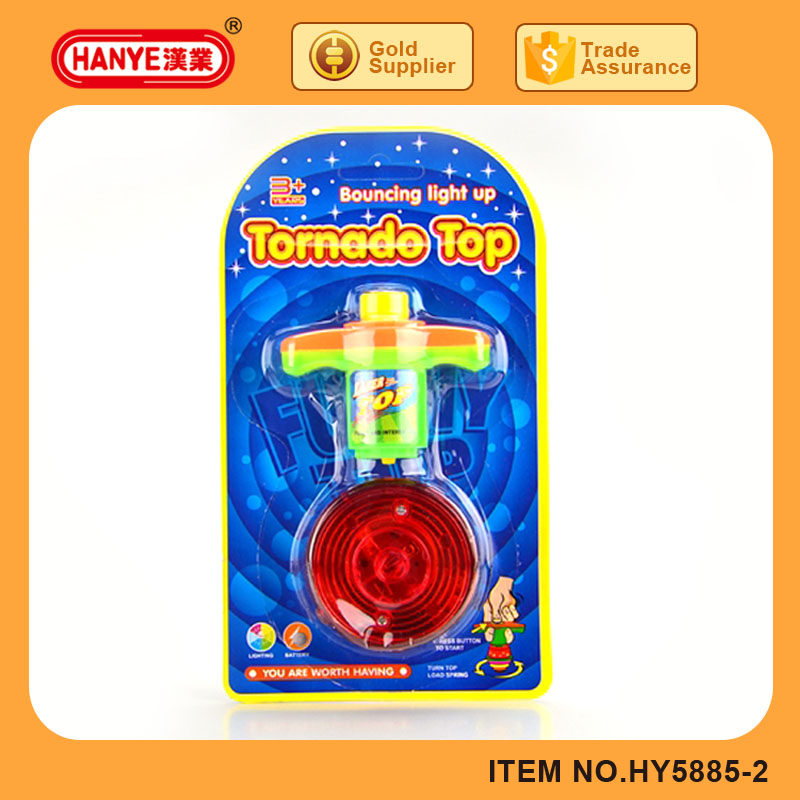 Newest boucing light up tornado top toys spinning top toys with lights and music