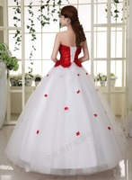 C71528A red flower up white wedding dress bridal princess wedding dress for photo