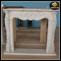 Indoor used flower carving fireplace mantel