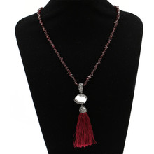 Colorful boho style irregular shape stone bead latest design tassel necklace with a pearl charm