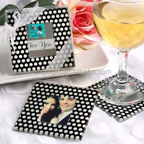 Wedding Favors Baby Shower Gifts White Dots in Black Background Square Photo Glass Coaster