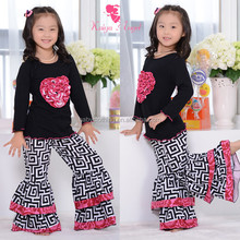 Children Fall Boutique Outfits Baby Persnickety 100Cotton Ruffle Pants Set Baby Clothes