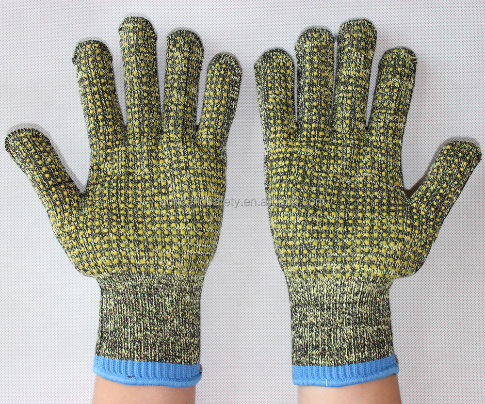 Cut resistant Aramid Fiber safety work glove with PVC Dots in palm