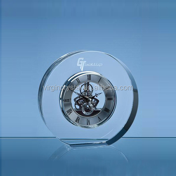 Personalized round crystal mechanical clock stand as office desktop gift