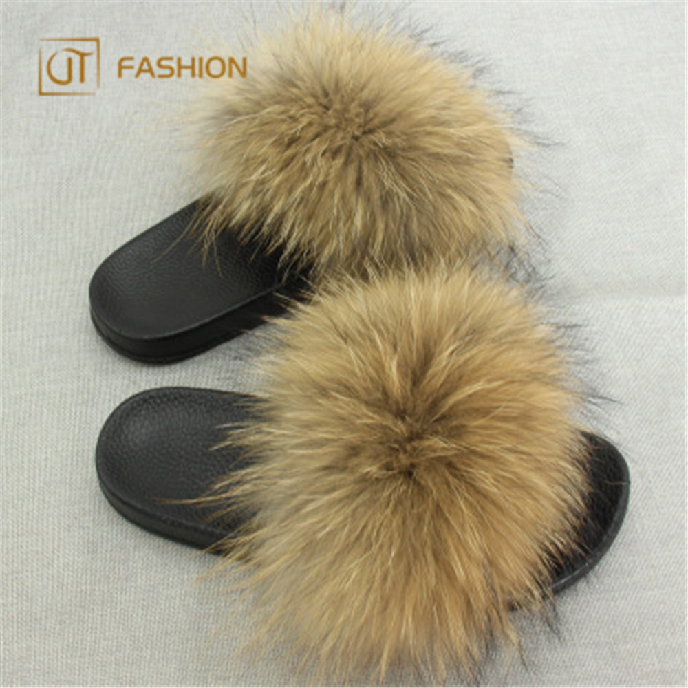 2018 New Arrival jtfur wholesale outdoor black fluffy women real fox fur <strong>slides</strong>