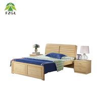 Family Double Bed Furniture Pine Wood Double Bed for children and adult