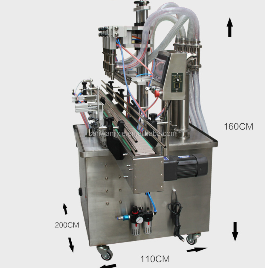 Customized easy maintainance automatic shampoo detergent filling machine 4 nozzles bottling machine from China manufactory