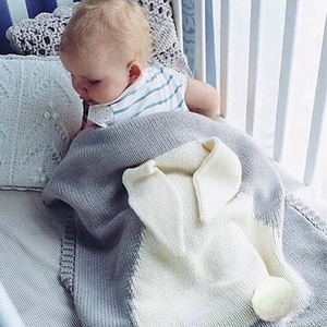 New Baby Cute Rabbit Blanket Knit Crochet Super Soft Warm Wool Swaddle Absorbent Kids Bath Towel Infant Bedding Blanket 73x108cm
