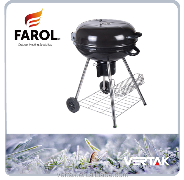 "Cast iron charcoal bbq grill , 22.5""charcoal BBQ,wheeled portable grill"