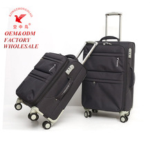2017 hot sale nylon four wheels soft trolley luggage suitcase bag set