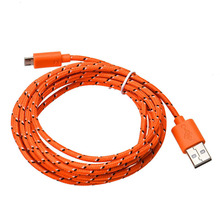 Male Fabric Braided Micro USB Charger Sync Textile Data Cable Cord