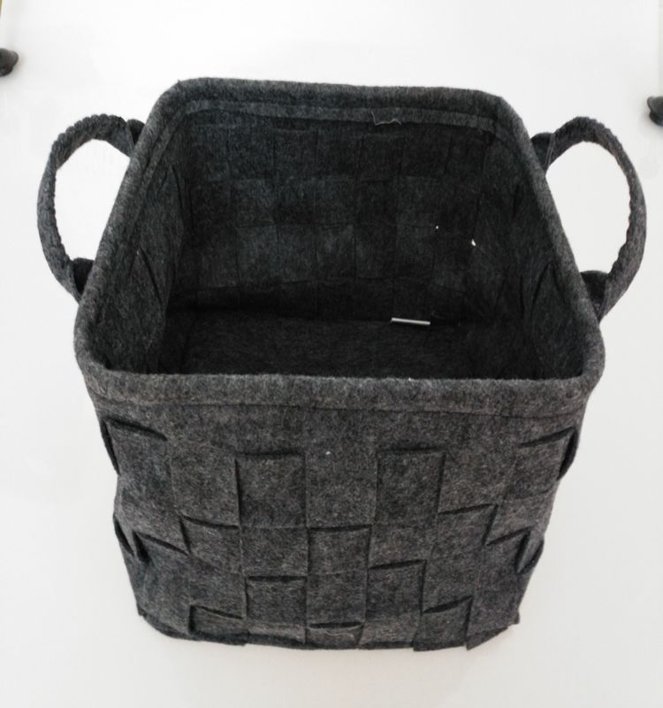 Felt Storage Basket, LOONG BABY Soft Felt Storage Bin, Handmade Storage Box with PU Handle for Household Kids Room Storage (Grey