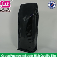 Flexible well hot stamping air tight flat bottom aluminum foil coffee bag for packaging