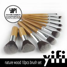 Cosmetics manufacturing companies 10 pcs bamboo brush carbon fiber private label makeup brush