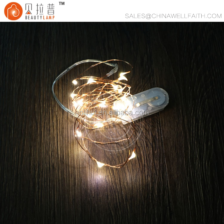 2M 20leds small LED Christmas light operated by coin battery