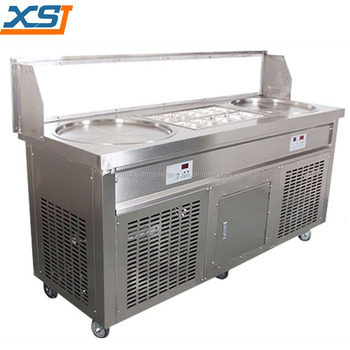 New thailand style roll fry ice cream machine with flat table