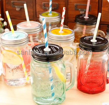 Mason bottle glass handle color mason drink cup for milk tea ice cream shop