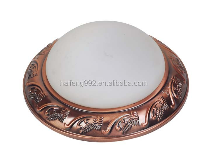 Zhongshan glass round ceiling lamp for corridor antique copper decorative ceiling light 9''/11''