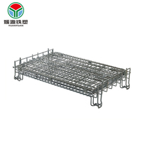 4 side logistics wiremesh mesh container with strong wire metal storage pallet rolling cage cart