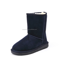 one button ankle fashion shinning sheepskin boots with fox fur lining for lady