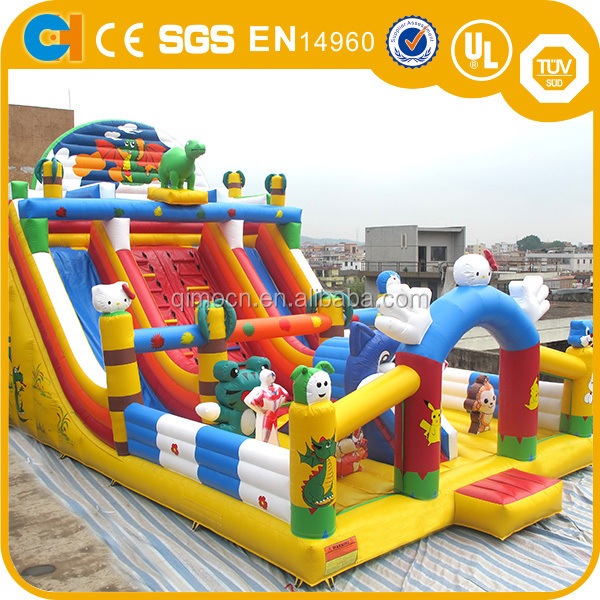 Customized cartoon character inflatable slide,double lane inflatable slide,giant inflatable slide for kids and adult