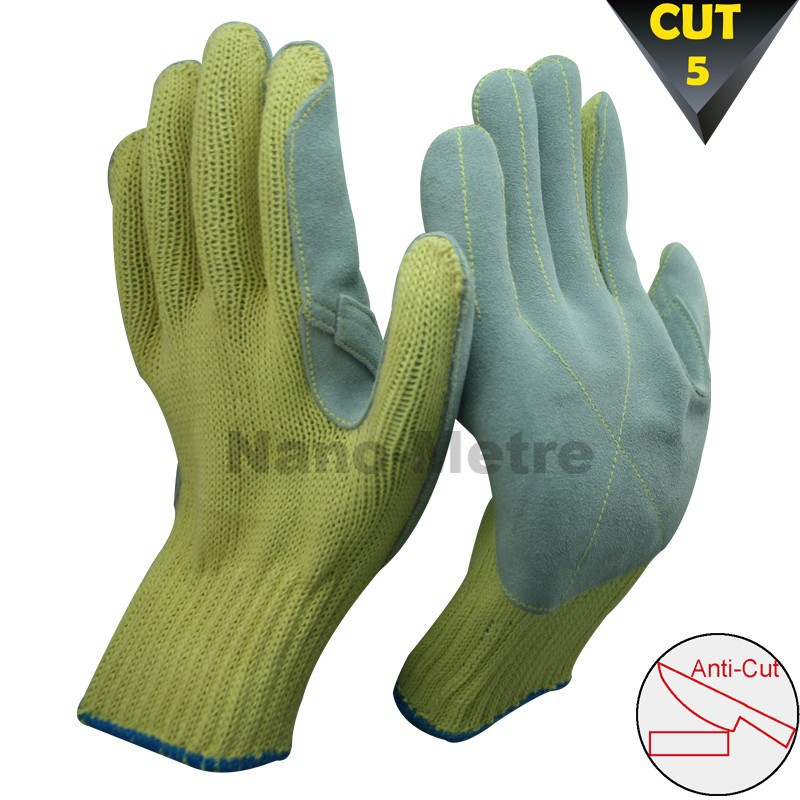 Nmsafety 2014 Cut 5 Gloves Aramid Fibers Leather Palm Sewed