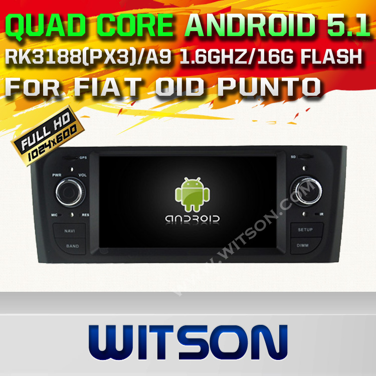 WITSON Android 5.1 CAR DVD GPS For FIAT OID PUNTO WITH CHIPSET 1080P 16G ROM WIFI 3G INTERNET DVR SUPPORT