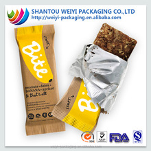 Custom printed heat seal plastic food packaging candy bar wrapper