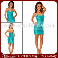 AT7085 Indian Style Blue One Beaded Strap Sweetheart Ruffles Mini One Of A Kind Cocktail Dresses
