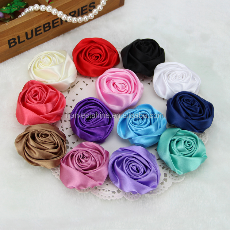 Handmade satin ribbon rose fabric flowers,brooch silk flowers bulk