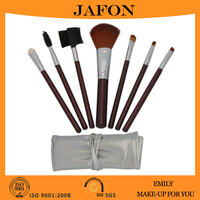 7pcs Brown Professional Cosmetic Makeup Make up Brush Brushes Set Kit with Silver Bag Pouch