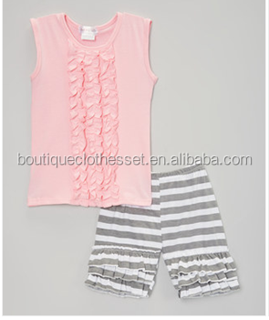 wholesale boutique short sets girls shirt and ruffle short set kids clothing suppliers china yiwu