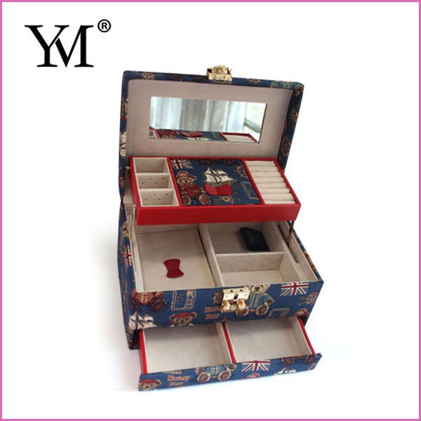 Wholesale Custom Velvet Lining Travel Canvas Jewelry Case With Drawer