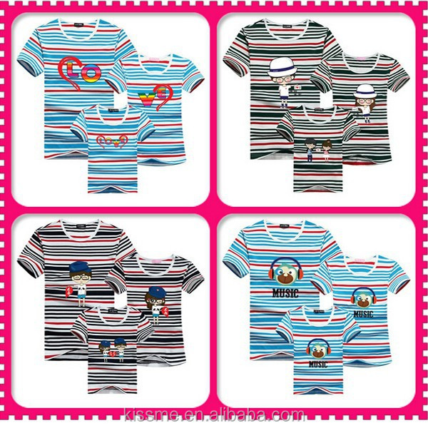 Fashionable cotton t shirt /yarn dyed cottonfamily thirts polo/stripe short sleeve