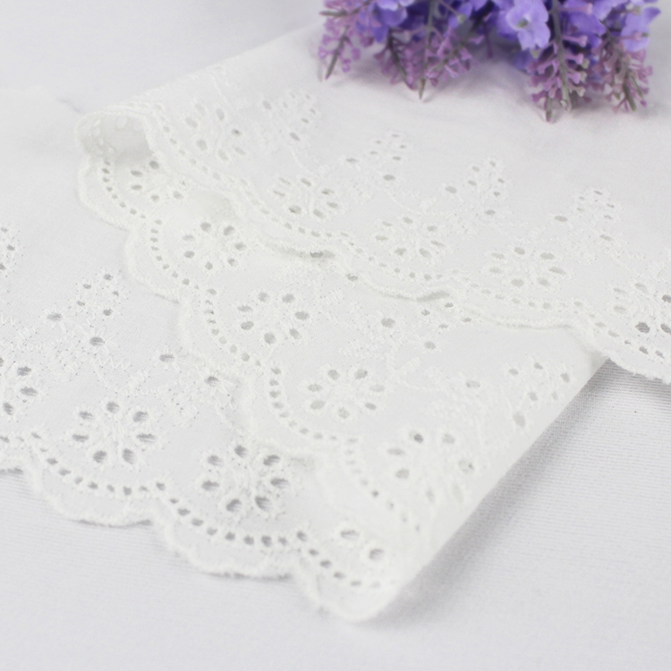 White Cotton Scalloped Embroidery Lace Trim for Spring Girl's Dress