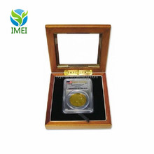 YM0E17 Guardhouse Wood Glass Lid Display Box Case 1 Certified Graded USA Coin Slab PCGS Shadow Box
