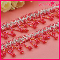 wholesale handmade acrylic beaded tassel fringe trim for curtaion WTP-1248