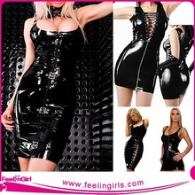 Wholesale Sexy Black Leather Dress
