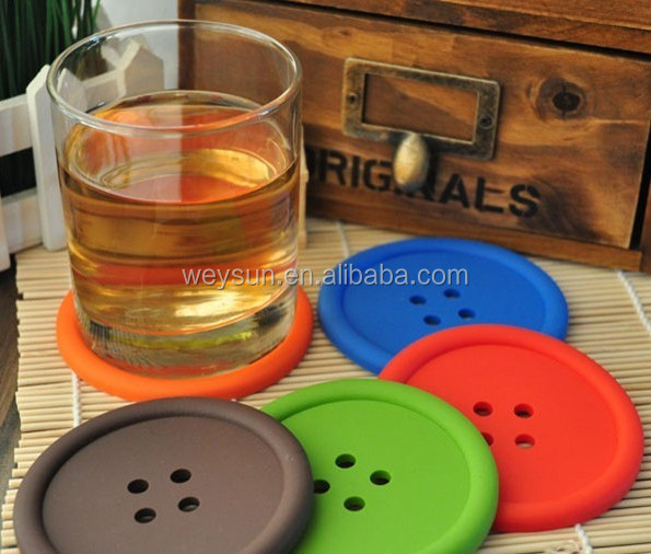 DHL Freeshipping Min round silicone coasters cute button coasters Cup mat
