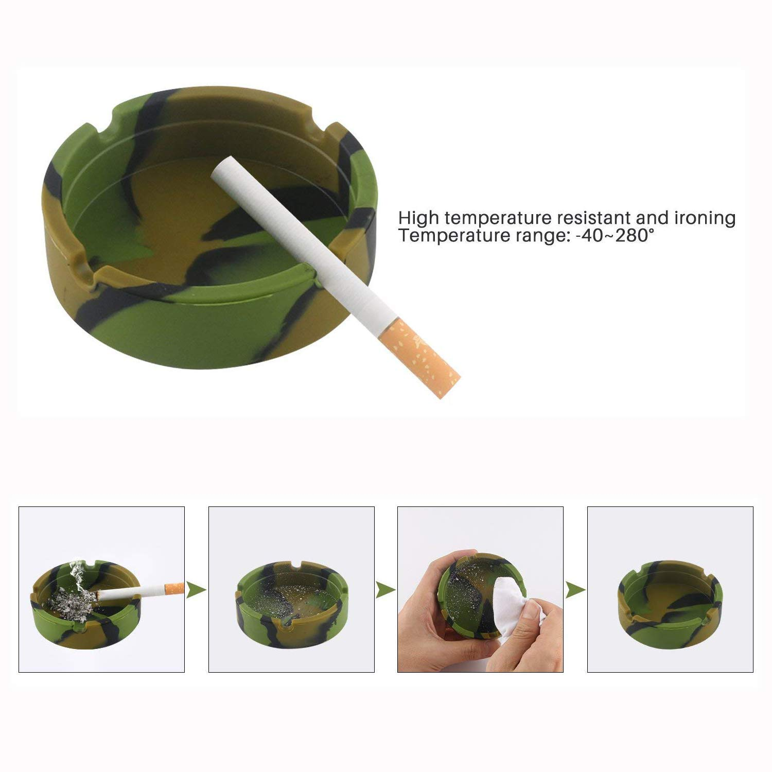 Eco friendly portable custom round silicone ashtray