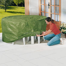 Waterproof anti UV Outdoor furniture garden table cover PE cloth round table cover with 4 holes