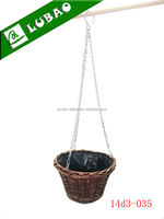 Free sample handmade plastic lined gardening wicker flower hanging basket