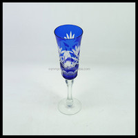 Bao blue hand carved champagne flute,elegant 150ml long stem champagne glass