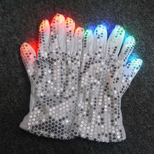 Multicolor LED Gloves Rave Light Flashing Finger Lighting Glow Mittens White