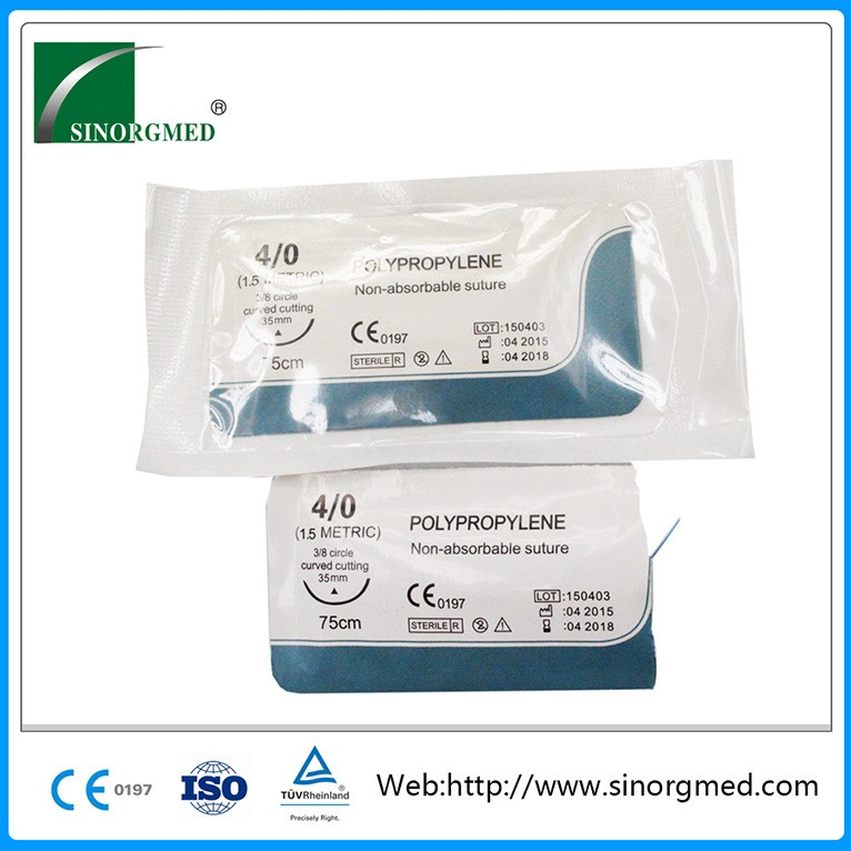 Medical Non absorbable surgical suture with needle Polypropylene
