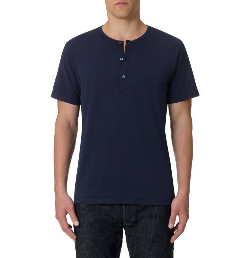 wholesale 3 button navy henley t shirt