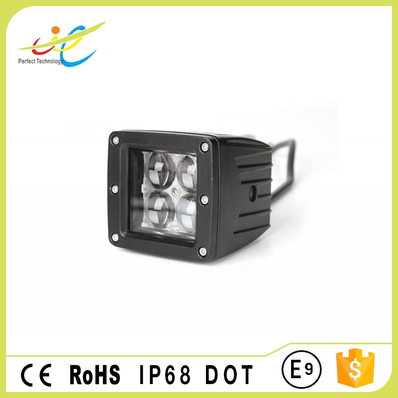 Square 4D lens 12w 3inch led working lamp waterproof led driving head light for car front