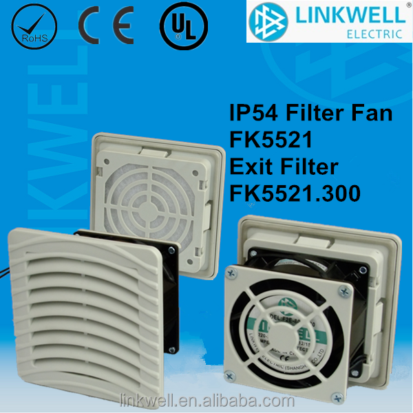 China Shanghai Linkwell IP54 Cabinet Axial Filter fan, shutter vents filter fan